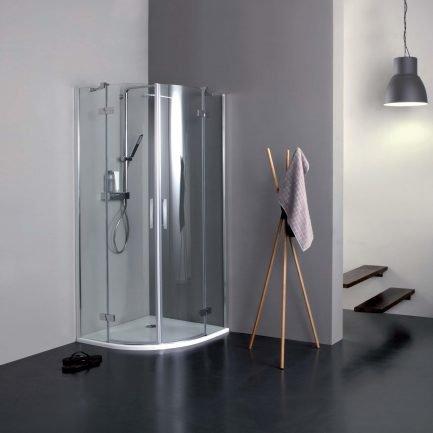 S8MILL INFINITY, box doccia semicircolare con porta battente in cristallo 8 mm di Colacril