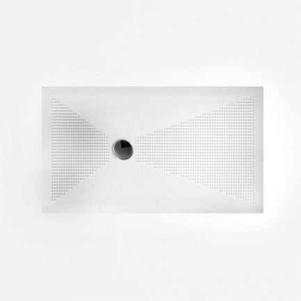 Piatto doccia 3 cm in ceramica senza bordi con texture antiscivolo e piletta cromata