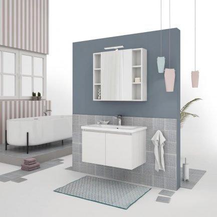 Mobile da bagno sospeso in finitura legno bianco con specchio contenitore e lampada led.