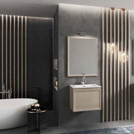 Mobile da bagno sospeso con cassettone e specchiera con cornice in legno.